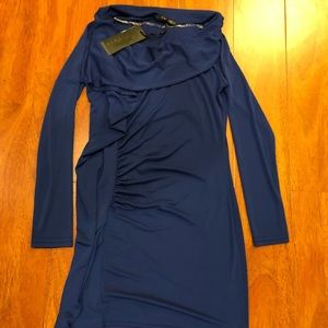 Navy blue dress with ruffle